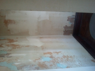The entryway is in the worst condition, with four layers of wallpaper and paint alternating.