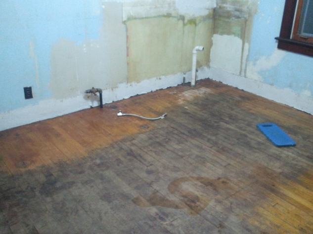 Ta-dah! The floors need to be refinished, but otherwise are in great condition.
