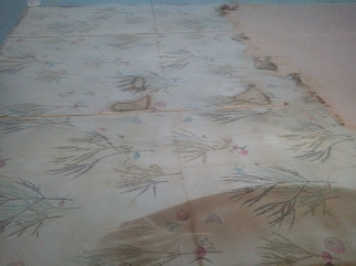 This the second layer of Amityville wallpaper slowly coming off scrap by scrap..