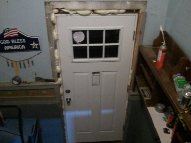 Back door with spray foam.