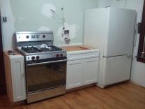 """Kitchen with Stove, Fridge, and 33"""" cabinet (with 9"""" stand-in)"""