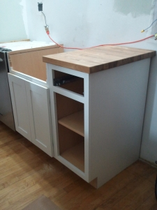 Kitchen install with counter tops