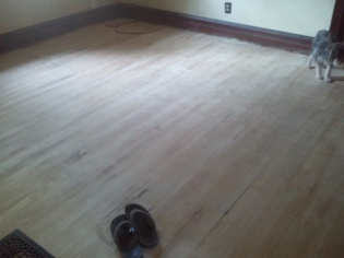 The dining room prepped for staining