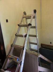 Our crazy ladder to reach the tall areas