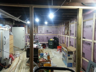Please count with me, 4 (one hidden) 5 lights! Plus two studs framing the soon french doors.
