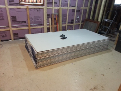 Drywall ready to be hung.