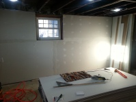 Entire North wall is hung. (except window frame)